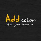 Add color to your interior phrase on black brick Stock Photos