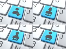 Add Concept - Blue Button on Keyboard Stock Photography