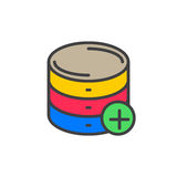 Add database filled outline icon, vector sign Royalty Free Stock Images
