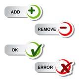 Add enlèvent et article correct d'erreur - bouton Images stock