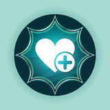 Add favorite heart icon magical glassy sunburst blue button sky blue background. Add favorite heart icon isolated on magical glassy sunburst blue button sky blue stock image