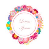Add filler text circle flowers banner sticker. Add filler text to a circle of multi-color flowers isolated on white background. Editable vector. Ideal for Royalty Free Stock Photography