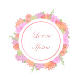Add filler text flowers white circle banner. Pink and orange floral flowers circle with `Lorem Ipsum` to be replaced by filler text. Add text banner. Vector Stock Photo