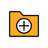 Add folder flat icon. Vector illustration. Add folder flat icon. Vector symbol for folder adding Royalty Free Stock Image