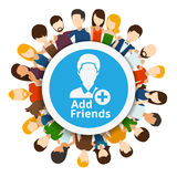 Add friends to social network Royalty Free Stock Photo