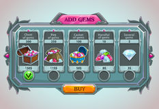 Add gems panel. Epic game asset with gems icons and buttons royalty free illustration