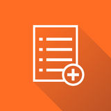 Add list document icon vector flat illustration. Isolated documents symbol. Paper page graphic design pictogram on orange background with shadow Stock Photography