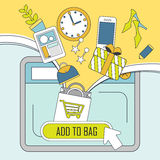 Add products to bag concept in thin line style Stock Photos