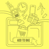 Add products to bag concept in thin line style Stock Images