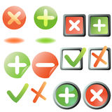 Add and remove buttons. Collection Royalty Free Stock Image