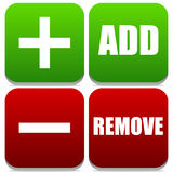 Add and Remove Buttons with Labels and symbols Stock Photos