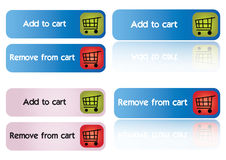 Add and remove cart - vector. Ecommerce web buttons that says add to cart and remove from cart on a reflective white background, vector Stock Images