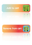 Add and remove cart - vector. Ecommerce web buttons that says add to cart and remove from cart on a reflective white background, vector Royalty Free Stock Photography