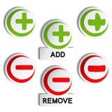 Add remove item - plus, minus Stock Photo