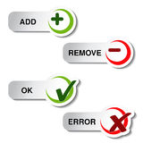 Add remove and ok error item - button Stock Images