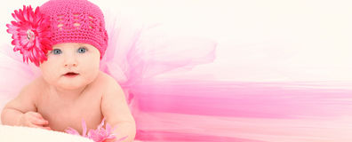 Add Text Baby. Beautiful baby girl in ADD TEXT background wearing pink flower hat and pink tutu over white Stock Images
