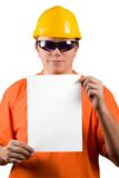 Add text here. The man in yellow helmet, orange shirt, glasses and paper a4. Add your text here. Isolated glasses, paper and background in different paths Royalty Free Stock Photography