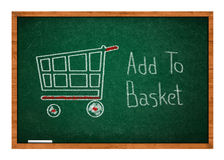 Add to basket on Green chalkboard Royalty Free Stock Image