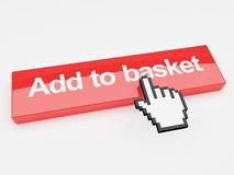 Add to basket internet button. A 3d image of a button with add to basket printed on its face with a mouse pointer Stock Photography