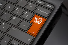 Add to Basket Return Key. Symbolizing the selection of products for final purchase at an online shop Stock Image
