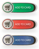 Add to card buttons. Vector add to card buttons. Three color styles Royalty Free Stock Photo