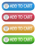 Add to cart. Four different color ecommerce web buttons that say add to cart on a white background. vector file also available