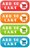 Add to cart. Colorful commercial add to cart signs Stock Image