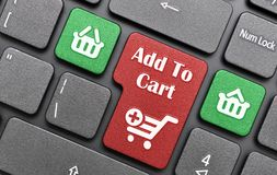 Add to cart. Shopping concept with shopping cart on keyboard Royalty Free Stock Photos