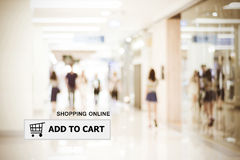 Add to cart on address bar over blur store background. Shopping online, e-commerce, web banner Royalty Free Stock Image