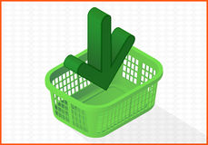 Add to cart basket vector 3d illustration Royalty Free Stock Photography