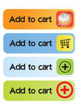 Add to cart buttons - vector. Different type of add to cart buttons, vector Royalty Free Stock Images