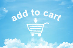 Add to cart cloud text with rainbow and cup Royalty Free Stock Photography