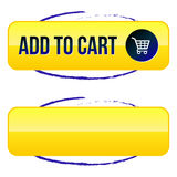 Add to Cart CTA Button. A shiny, yellow button that says Add to Cart with a shopping cart icon, all of which is circled with a blue, hand drawn line. Blank Royalty Free Stock Photo