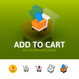 Add to cart icon in different style Royalty Free Stock Image