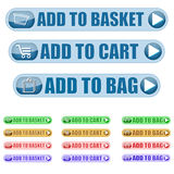 Add to cart icons. A set of Add to cart Icons in different colours Stock Photography