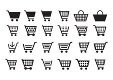 Add to cart icons. In white background Royalty Free Stock Photography