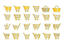 Add to cart icons gold. En style in white background Royalty Free Stock Photo