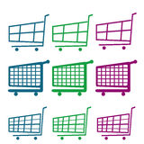 Add to cart. A lot of colored shopping carts on a white background Royalty Free Stock Photos