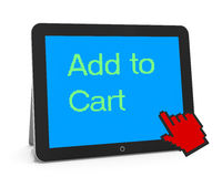 Add to cart. Man write add to cart Royalty Free Stock Image