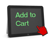 Add to cart. Man write add to cart Royalty Free Stock Photography