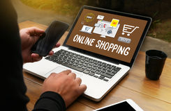 Add to Cart Online Order Store Buy shop Online payment Shoppin. G business and modern lifestyle Shopping , credit card to buy Online Order Shopping royalty free stock photography