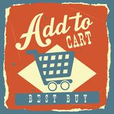 Add to cart. Over blue  background. vector illustration Stock Photo
