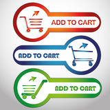 Add to cart. Three colored icons with some colored silhouettes of cars and text Stock Photo