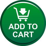 Add to cart web button. Icon on isolated white background - vector illustration Stock Images