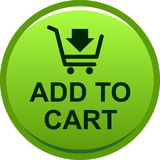 Add to cart web button. Icon on isolated white background - vector illustration Royalty Free Stock Images