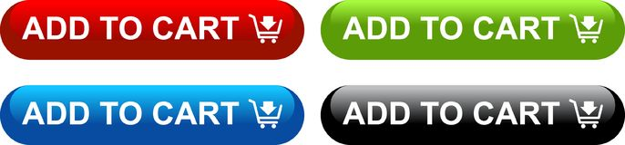 Add to cart web buttons. Icon on isolated white background - vector illustration Royalty Free Stock Photo