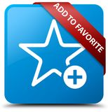 Add to favorite cyan blue square button red ribbon in corner. Add to favorite isolated on cyan blue square button with red ribbon in corner abstract illustration Stock Photos