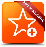 Add to favorite orange square button red ribbon in corner. Add to favorite isolated on orange square button with red ribbon in corner abstract illustration Royalty Free Stock Images