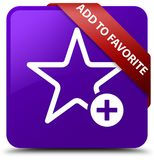 Add to favorite purple square button red ribbon in corner. Add to favorite isolated on purple square button with red ribbon in corner abstract illustration Royalty Free Stock Images