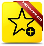 Add to favorite yellow square button red ribbon in corner. Add to favorite isolated on yellow square button with red ribbon in corner abstract illustration Royalty Free Stock Images